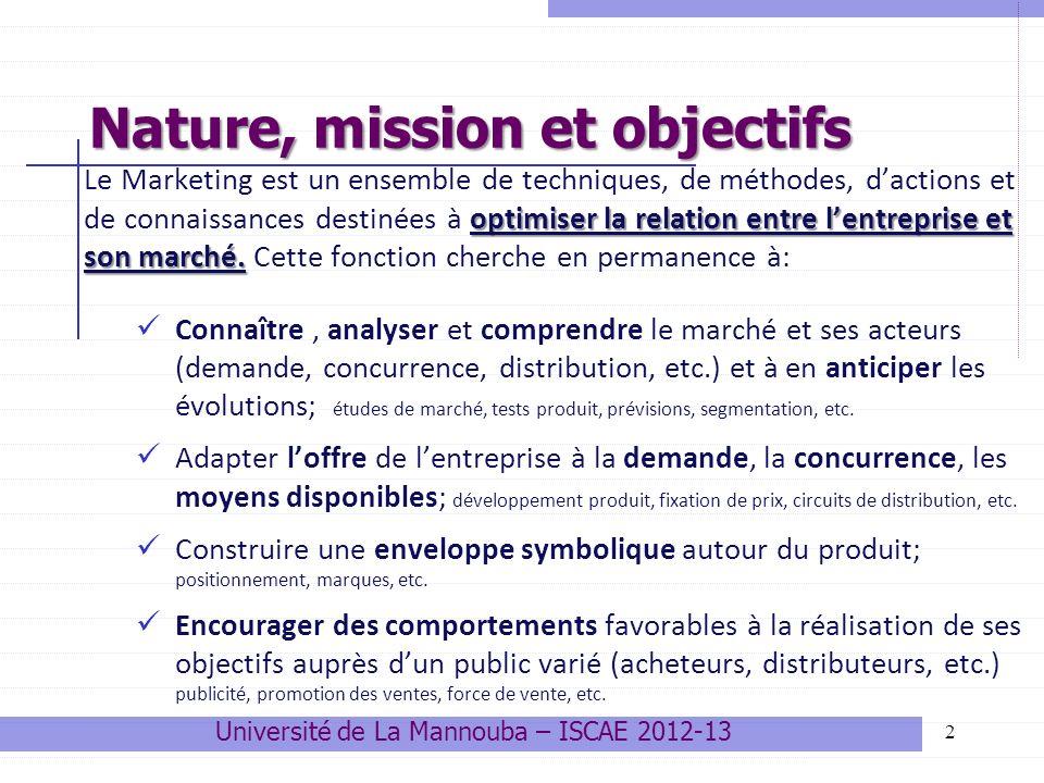 Nature, mission et objectifs