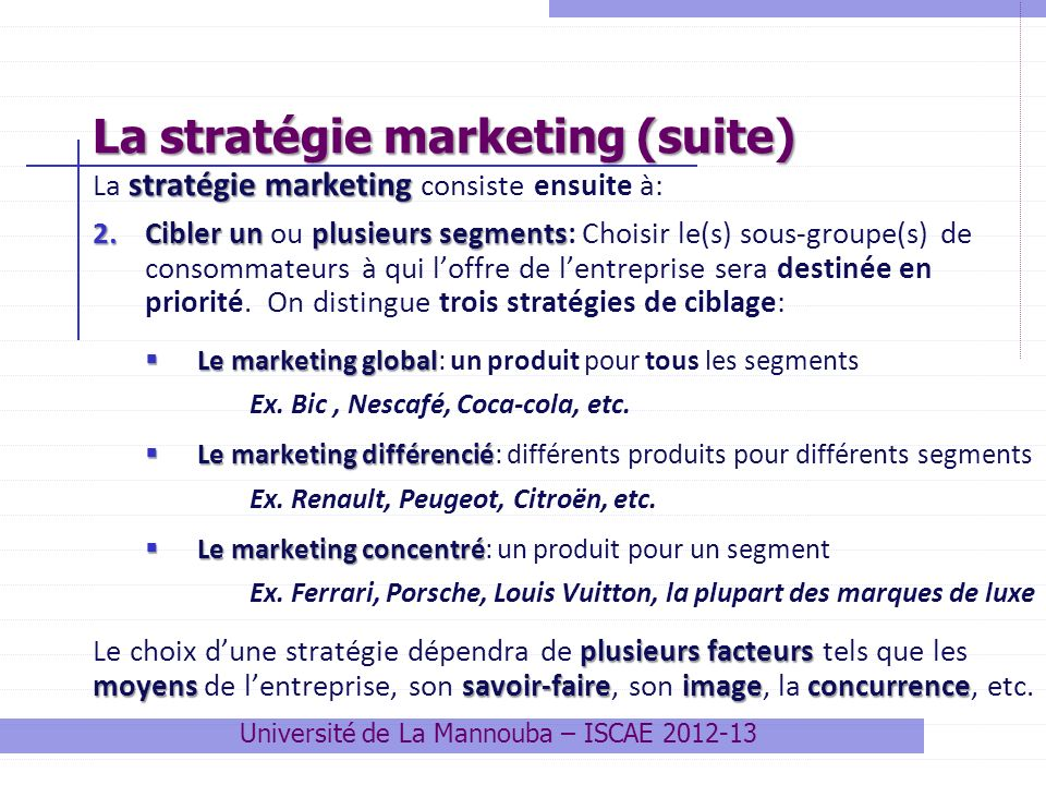 La stratégie marketing (suite)