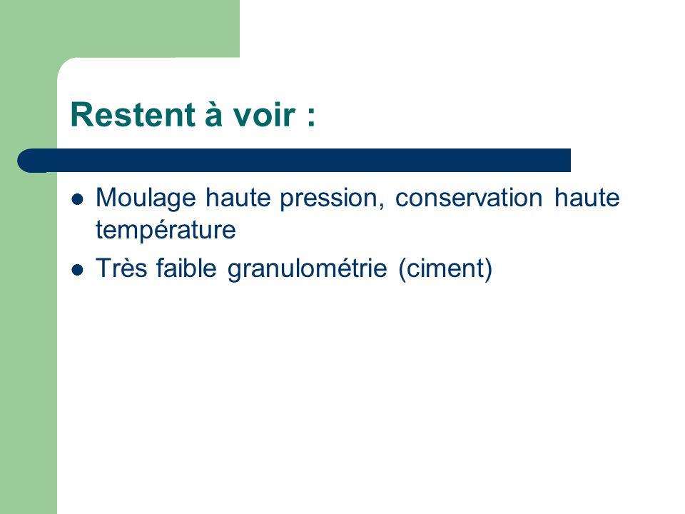 Restent à voir : Moulage haute pression, conservation haute température.