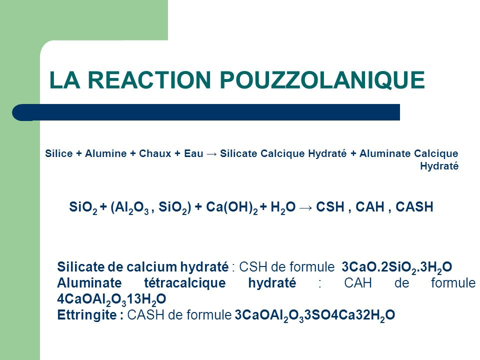 LA REACTION POUZZOLANIQUE
