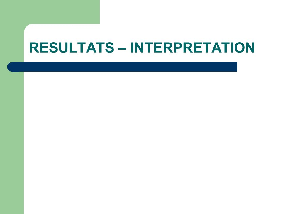 RESULTATS – INTERPRETATION