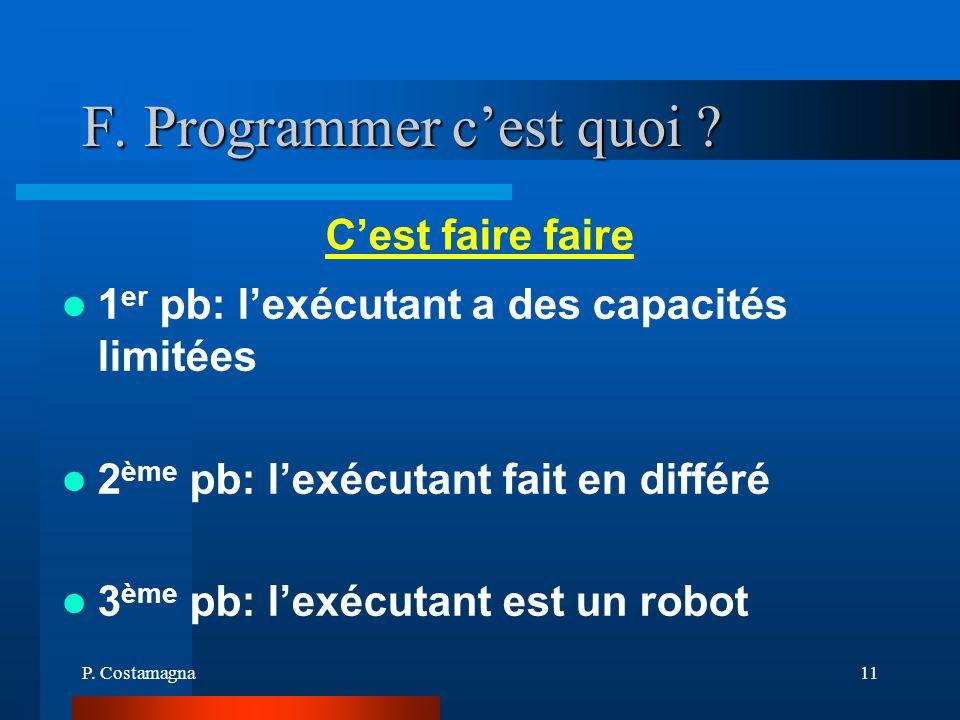 F. Programmer c'est quoi