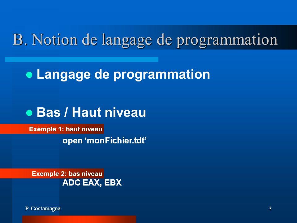 B. Notion de langage de programmation