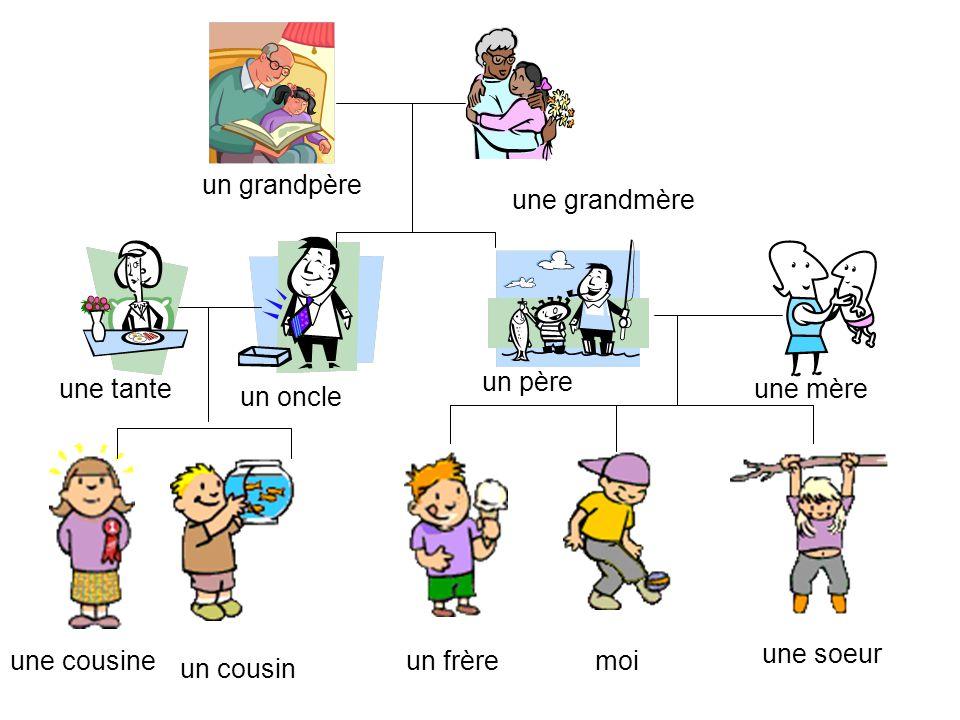 un grandpère une grandmère. un père. une tante. une mère. un oncle. une soeur. une cousine. un frère.