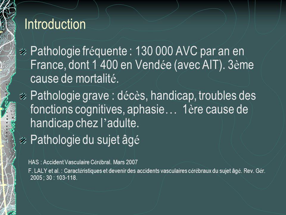 IntroductionPathologie fréquente : 130 000 AVC par an en France, dont 1 400 en Vendée (avec AIT). 3ème cause de mortalité.
