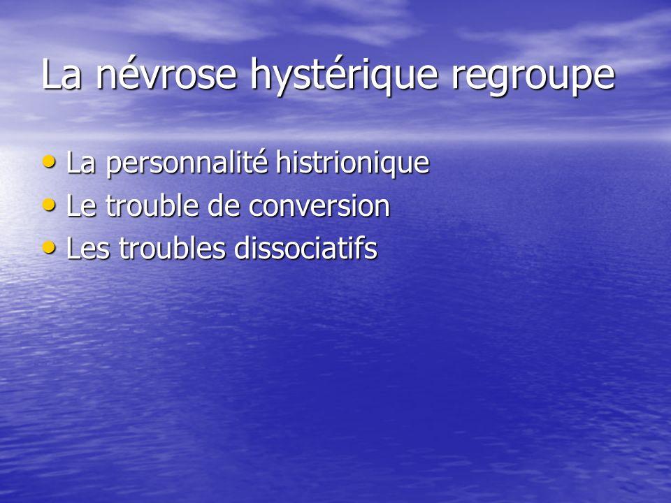La névrose hystérique regroupe
