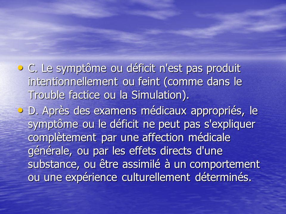 C. Le symptôme ou déficit n est pas produit intentionnellement ou feint (comme dans le Trouble factice ou la Simulation).