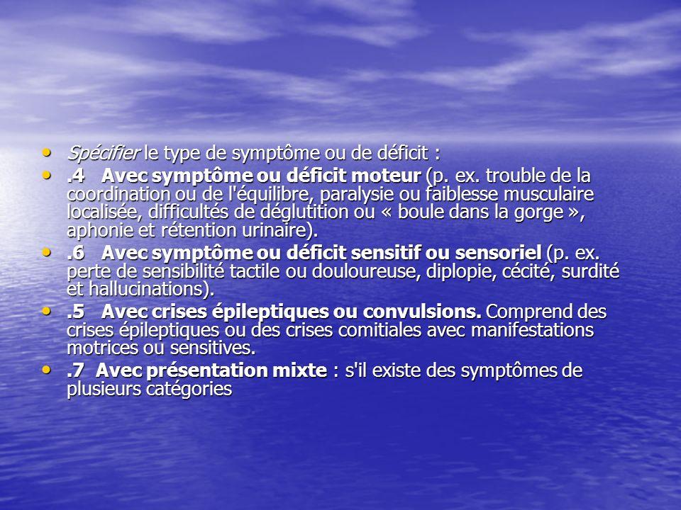 Spécifier le type de symptôme ou de déficit :