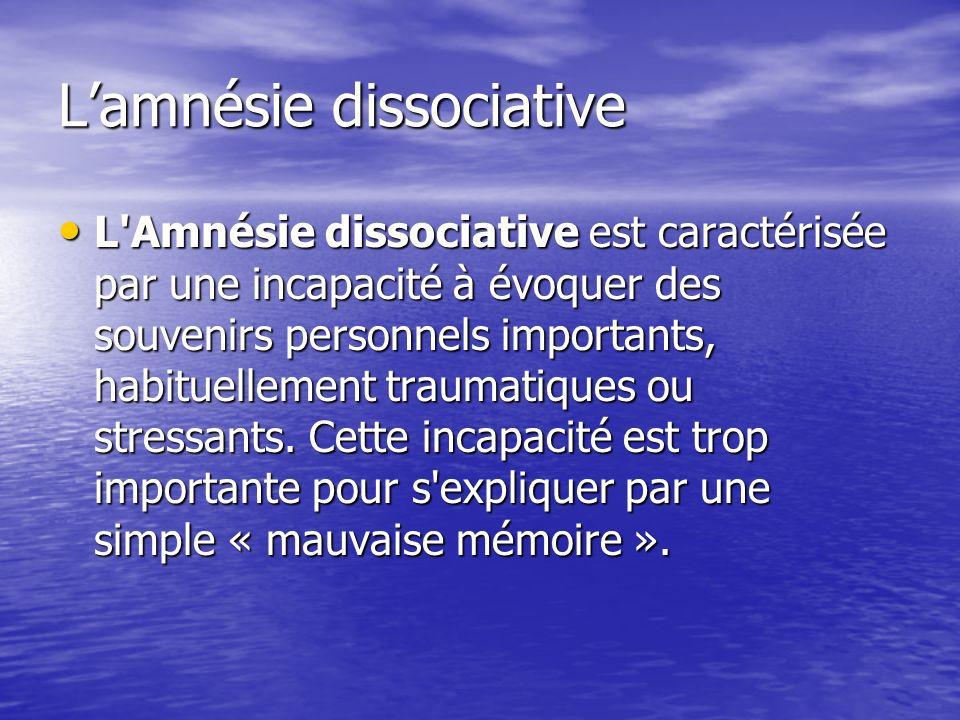 L'amnésie dissociative