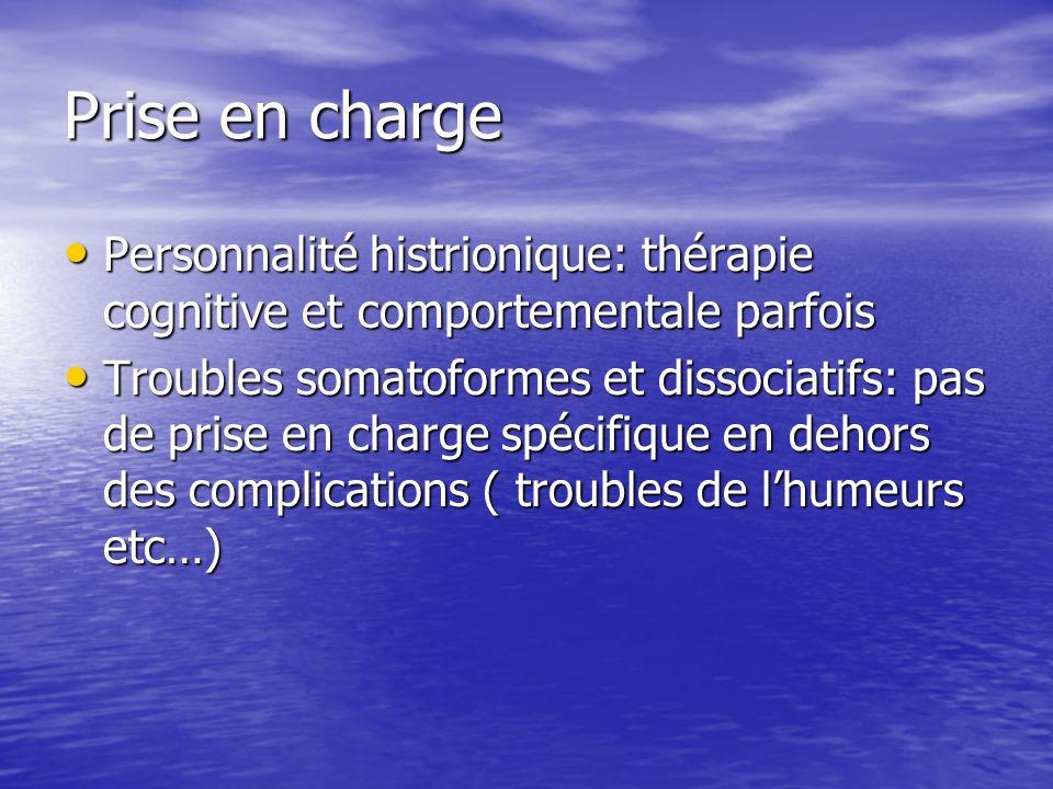 Prise en charge Personnalité histrionique: thérapie cognitive et comportementale parfois.