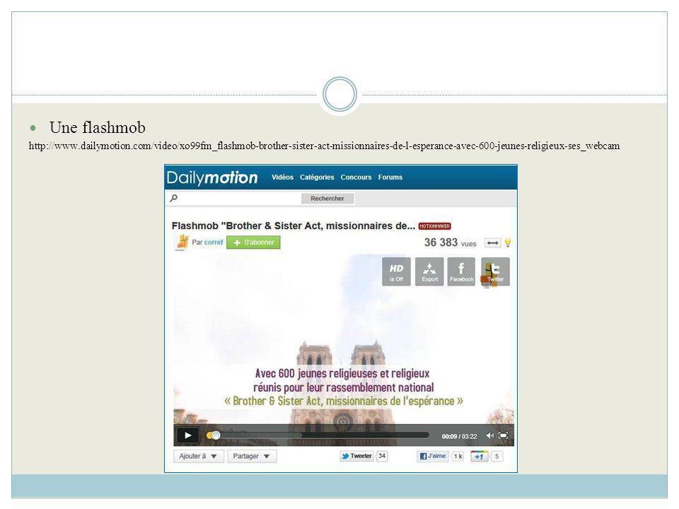 Une flashmob http://www.dailymotion.com/video/xo99fm_flashmob-brother-sister-act-missionnaires-de-l-esperance-avec-600-jeunes-religieux-ses_webcam.