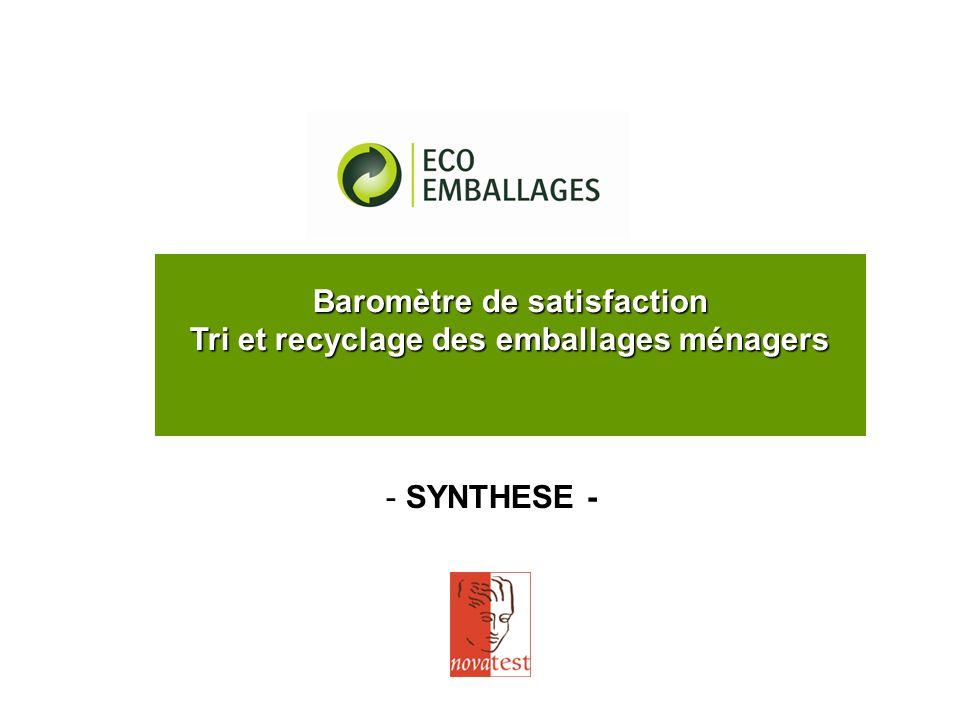 Baromètre de satisfaction Tri et recyclage des emballages ménagers