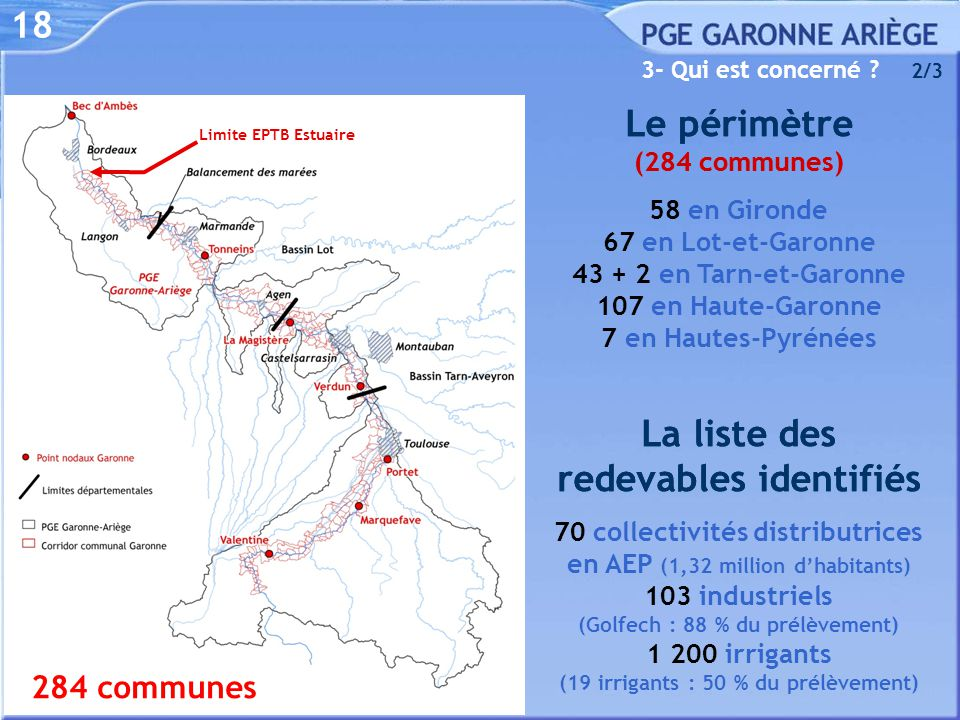 Le périmètre (284 communes) Le périmètre (284 communes)