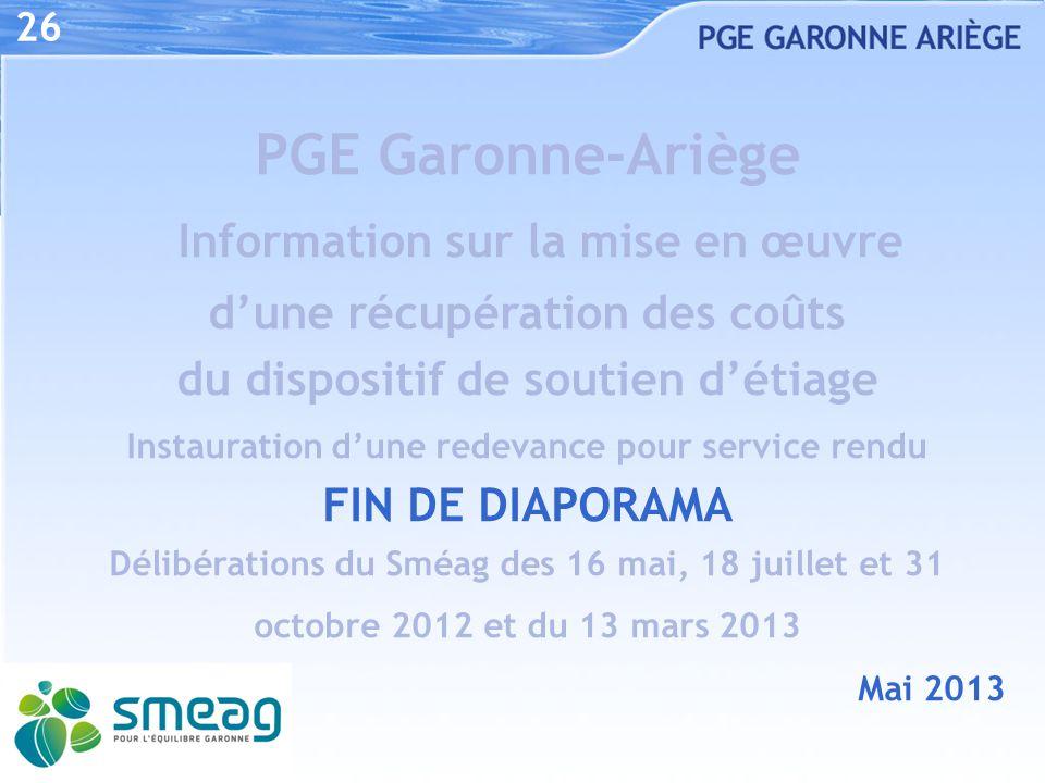 26 PGE Garonne-Ariège Information sur la mise en œuvre d'une récupération des coûts du dispositif de soutien d'étiage.