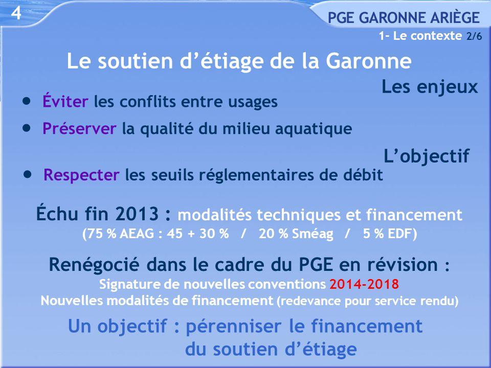 Le soutien d'étiage de la Garonne