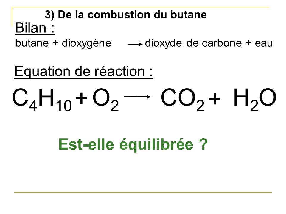 C4H10 + O2 CO2 + H2O Est-elle équilibrée Bilan :