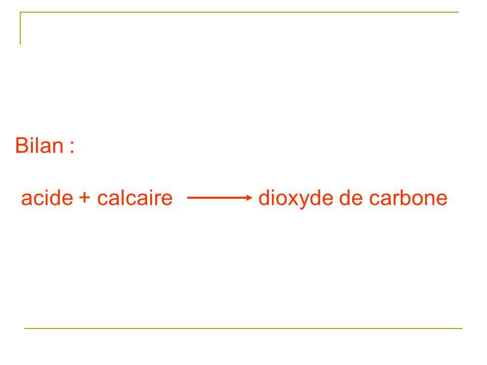 Bilan : acide + calcaire dioxyde de carbone