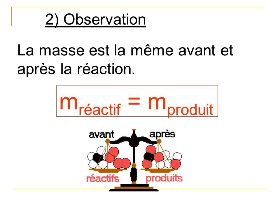 mréactif = mproduit 2) Observation