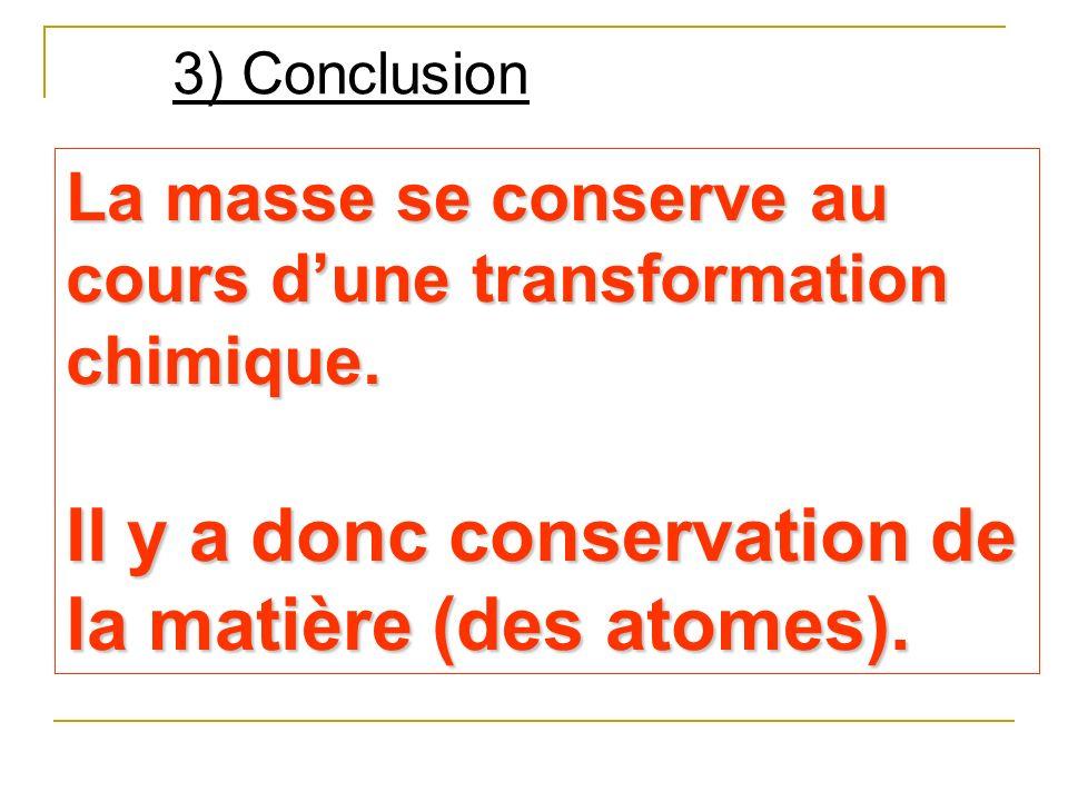 Il y a donc conservation de la matière (des atomes).
