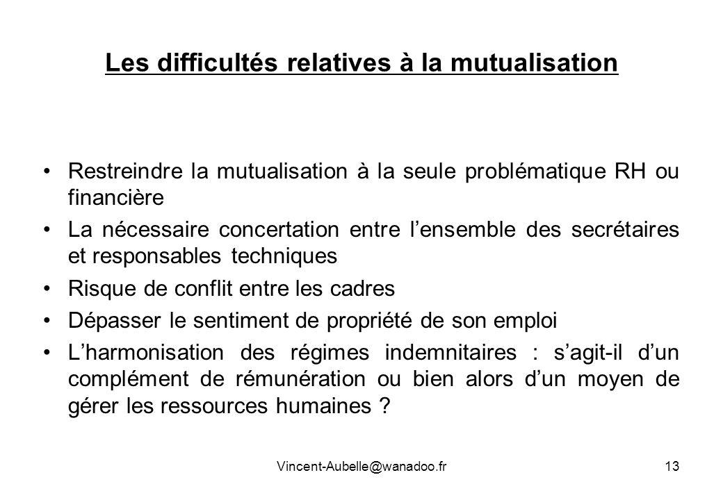 Les difficultés relatives à la mutualisation