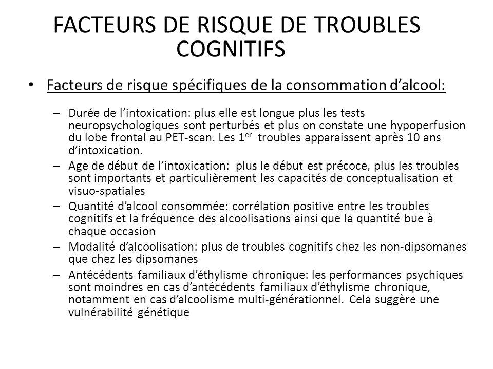 FACTEURS DE RISQUE DE TROUBLES COGNITIFS
