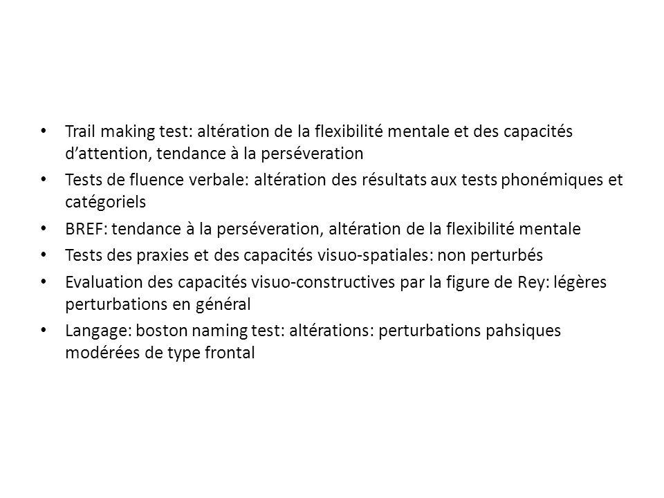 Trail making test: altération de la flexibilité mentale et des capacités d'attention, tendance à la perséveration