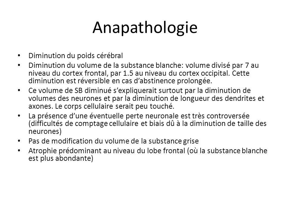 Anapathologie Diminution du poids cérébral