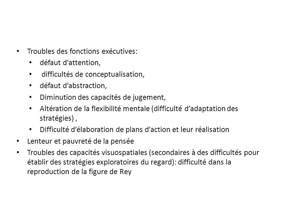 Troubles des fonctions exécutives: