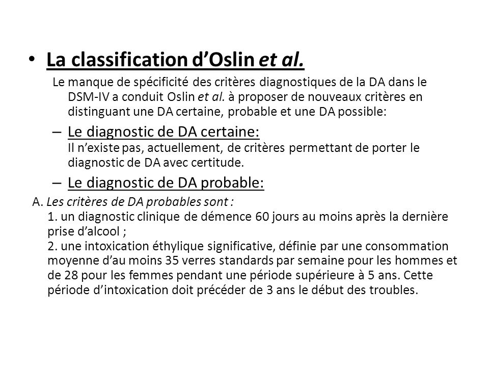 La classification d'Oslin et al.