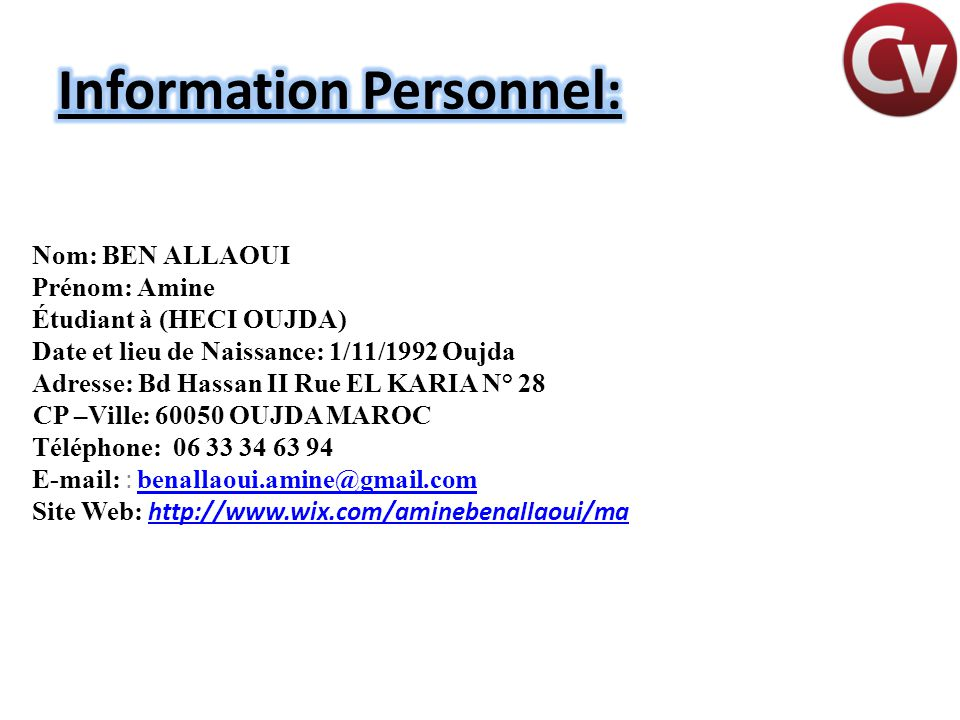 Information Personnel:
