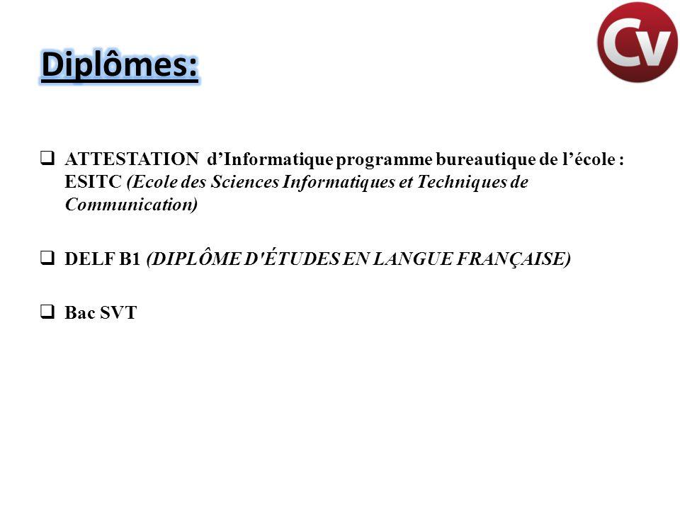 Diplômes: ATTESTATION d'Informatique programme bureautique de l'école : ESITC (Ecole des Sciences Informatiques et Techniques de Communication)