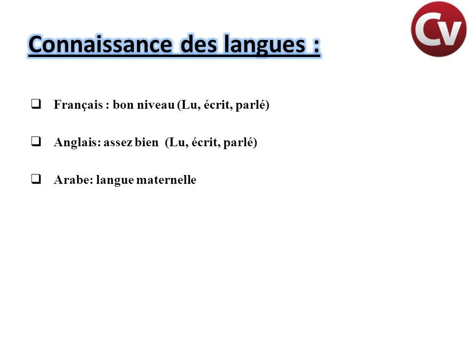 Connaissance des langues :
