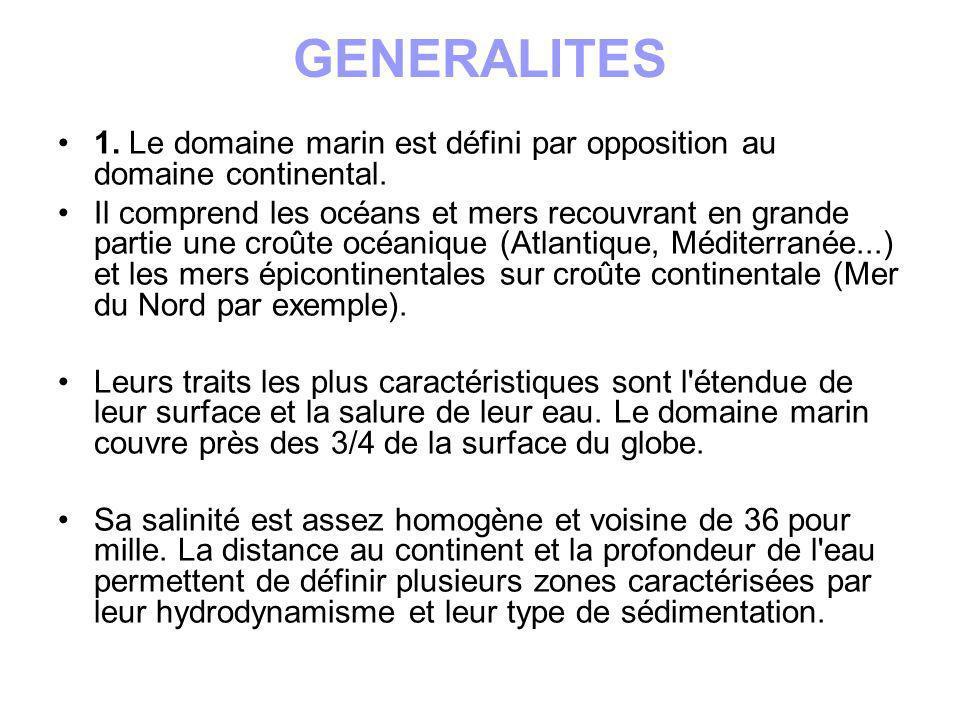 GENERALITES 1. Le domaine marin est défini par opposition au domaine continental.