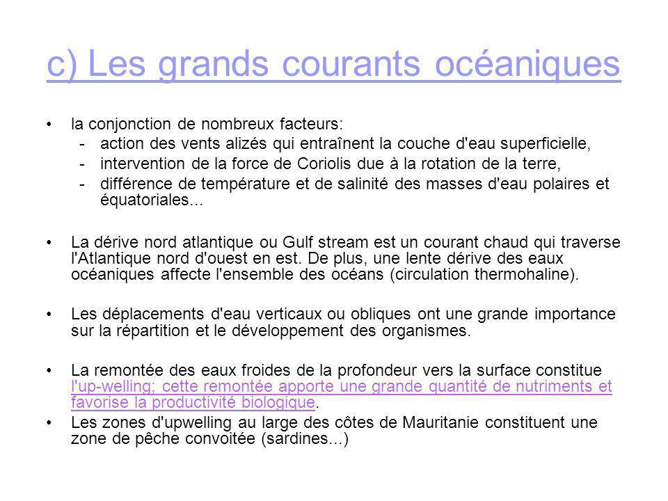 c) Les grands courants océaniques