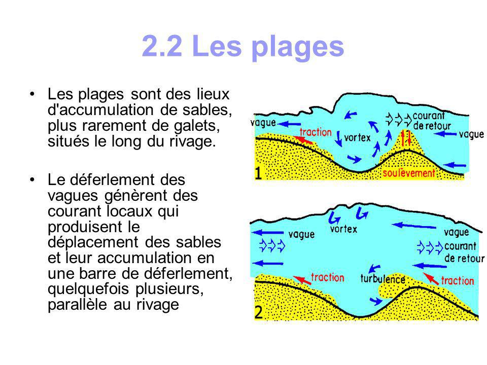 2.2 Les plagesLes plages sont des lieux d accumulation de sables, plus rarement de galets, situés le long du rivage.