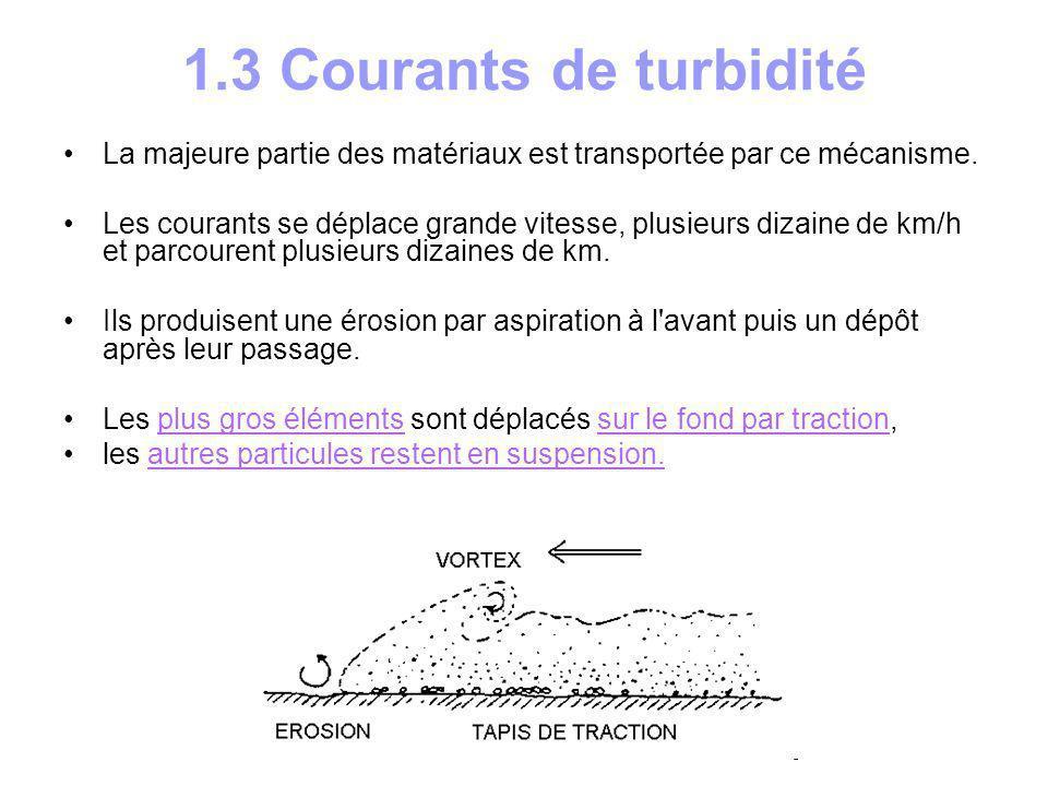 1.3 Courants de turbidité La majeure partie des matériaux est transportée par ce mécanisme.