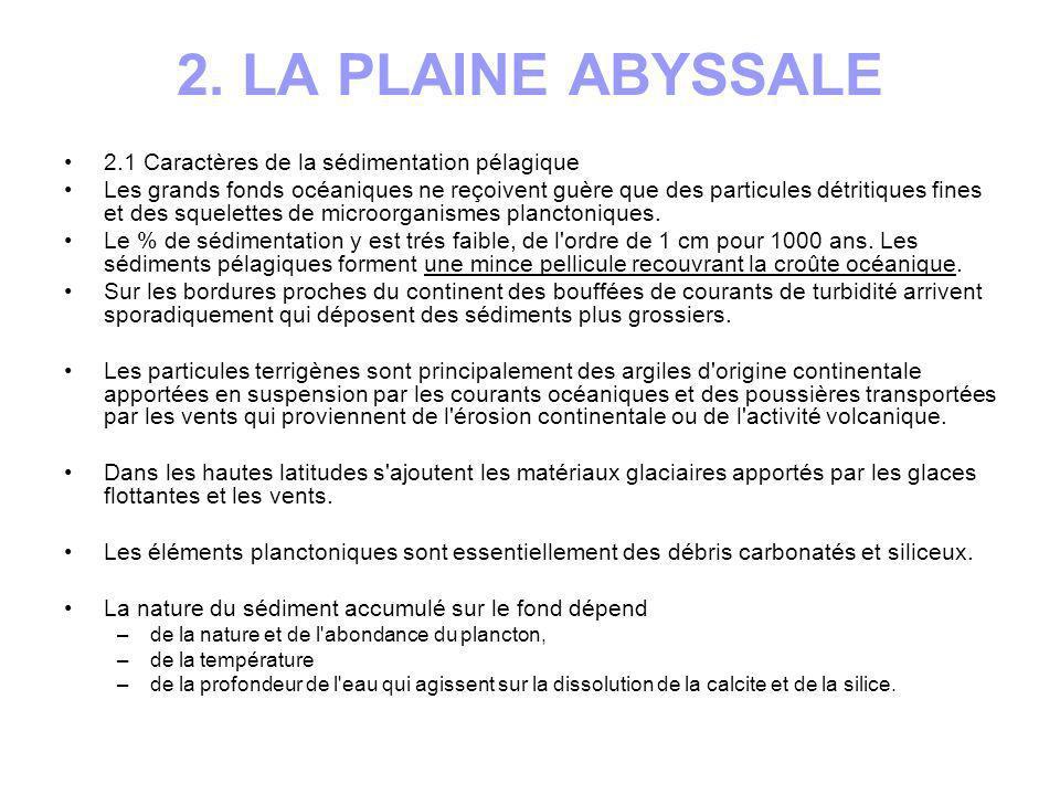 2. LA PLAINE ABYSSALE 2.1 Caractères de la sédimentation pélagique