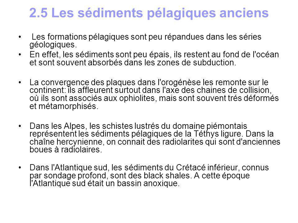 2.5 Les sédiments pélagiques anciens