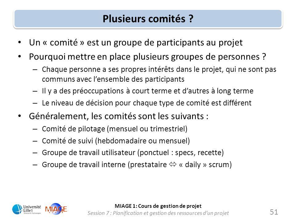 Plusieurs comités Un « comité » est un groupe de participants au projet. Pourquoi mettre en place plusieurs groupes de personnes