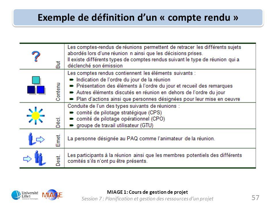 Exemple de définition d'un « compte rendu »
