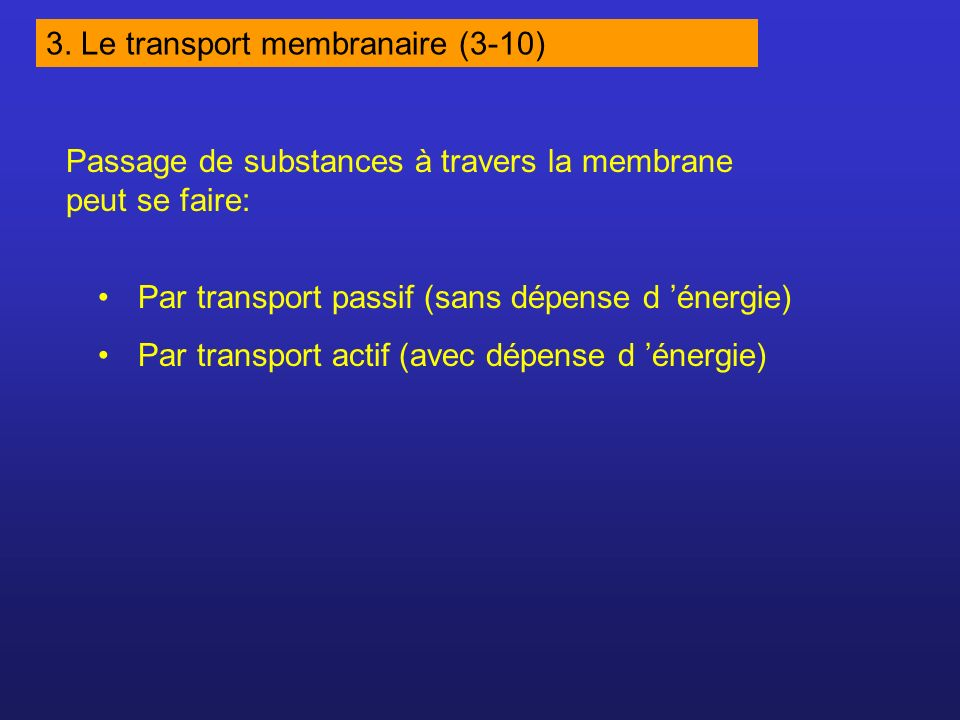 3. Le transport membranaire (3-10)