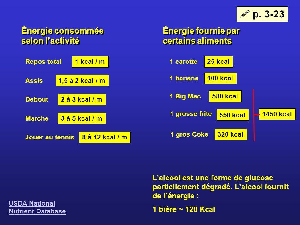  p. 3-23 Énergie consommée selon l'activité