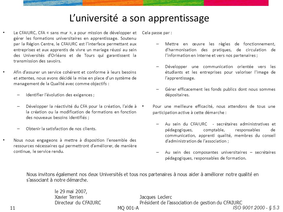 L'université a son apprentissage
