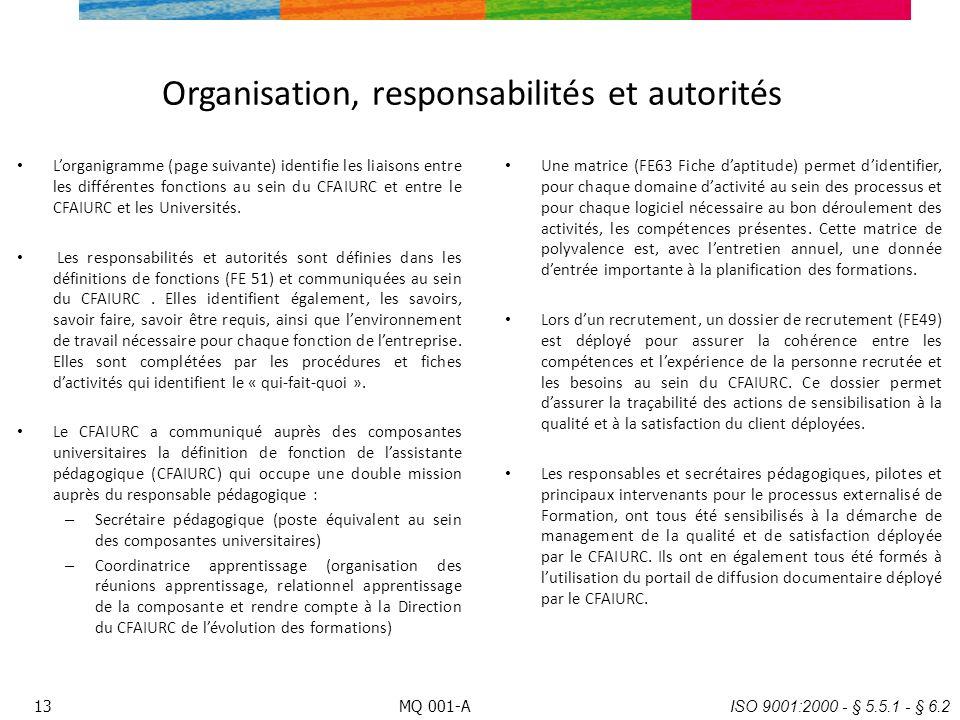 Organisation, responsabilités et autorités