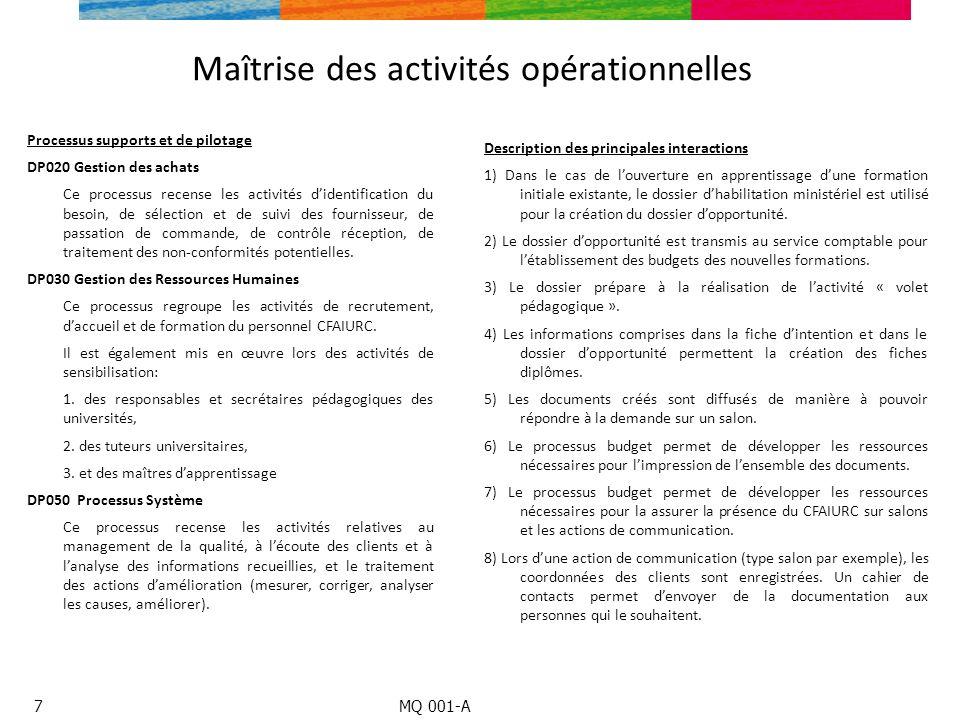 Maîtrise des activités opérationnelles