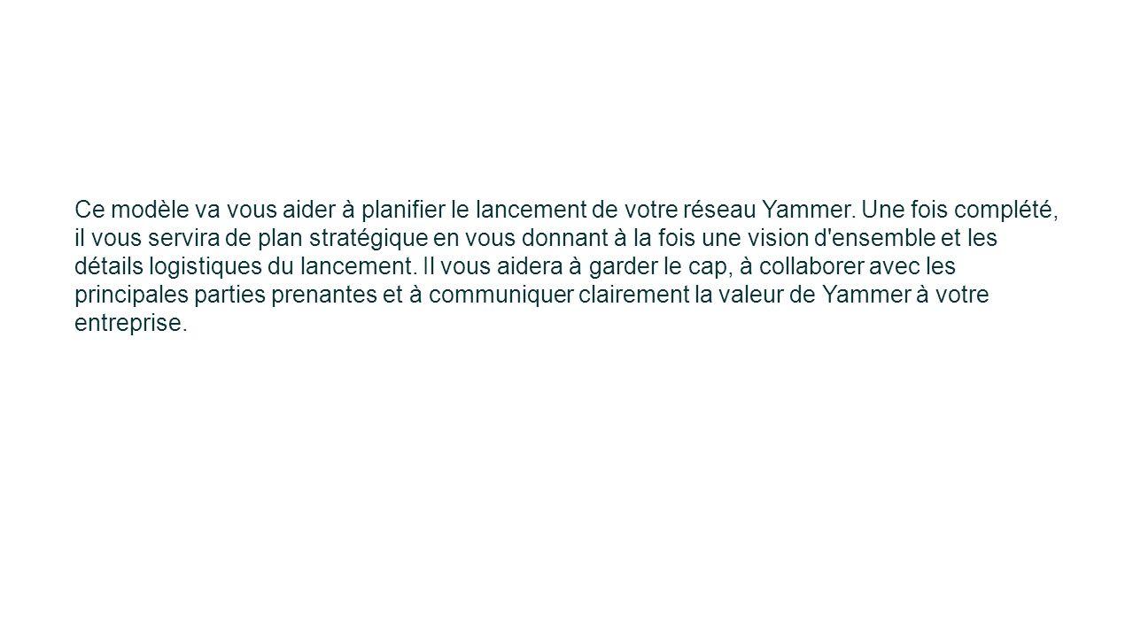 Ce modèle va vous aider à planifier le lancement de votre réseau Yammer.
