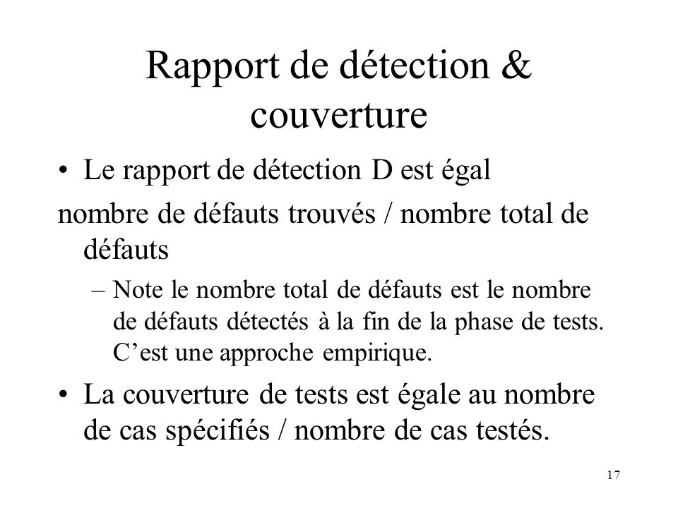 Rapport de détection & couverture