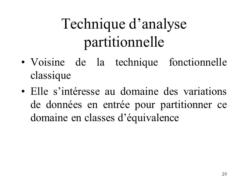 Technique d'analyse partitionnelle