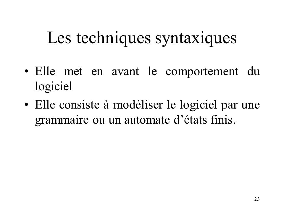 Les techniques syntaxiques