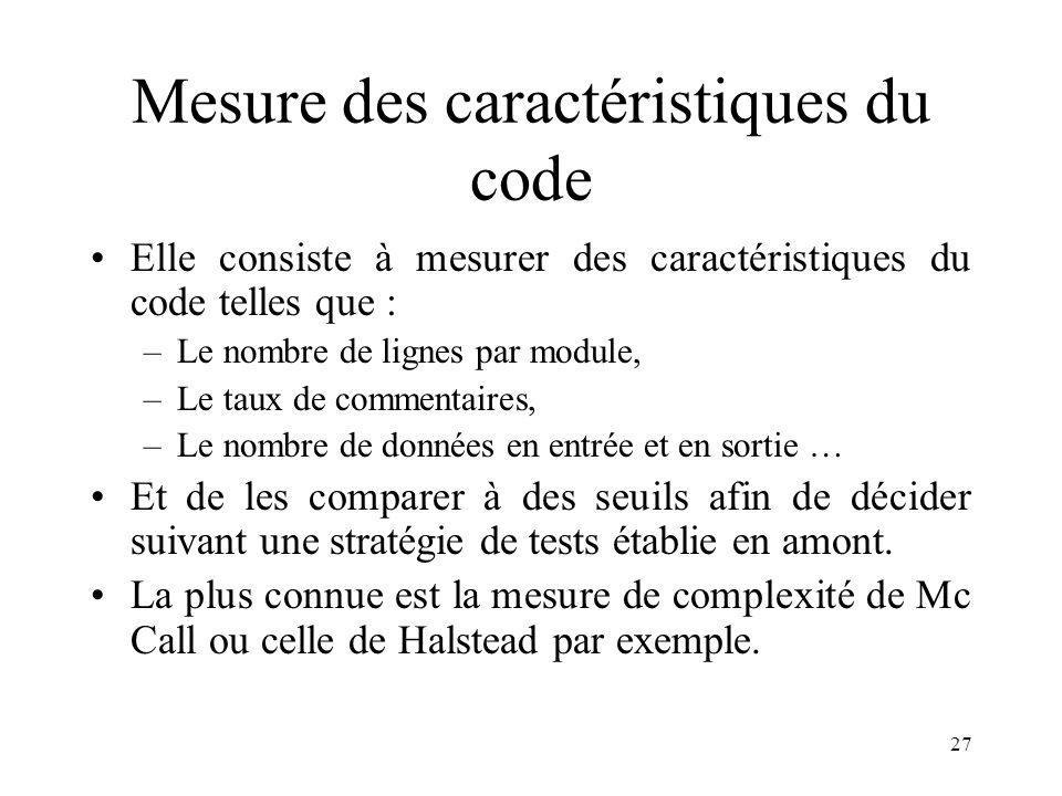 Mesure des caractéristiques du code